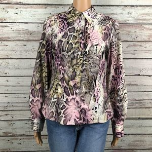 Etcetera Snake Skin Print Button Up Blouse Shirt